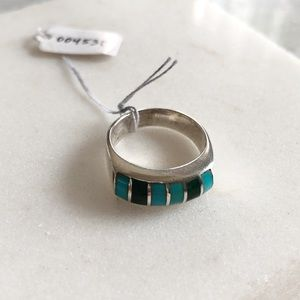 Vintage Turquoise & Sterling Silver Ring, 7.5